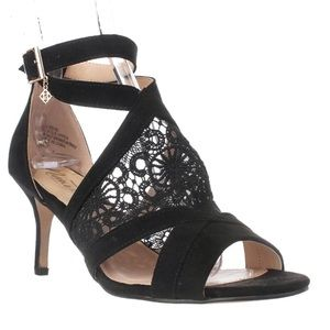 NANNETTE LEPORE Black Bliss Ankle Wrap Heels 6.5